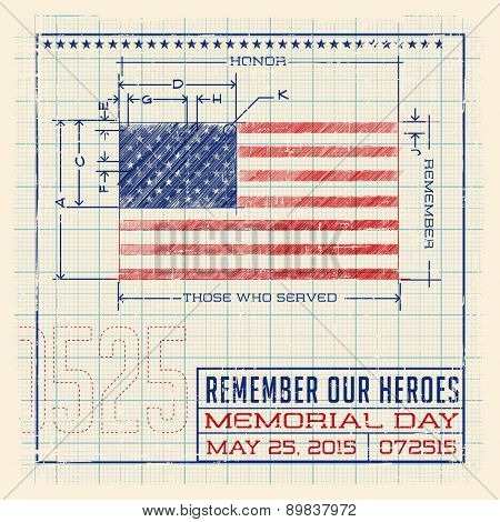 Memorial Day United States flag design as a diagram, blueprint or infographic