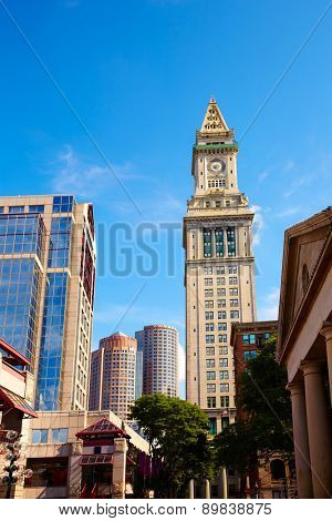 Boston Clock tower Custom House from Quincy Market Massachusetts USA