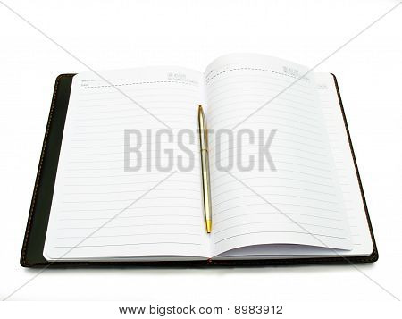 Opened book, diary and pen with blank pages isolated over white background