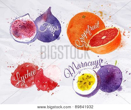 Fruit watercolor figs, grapefruit, lychee, maracuya