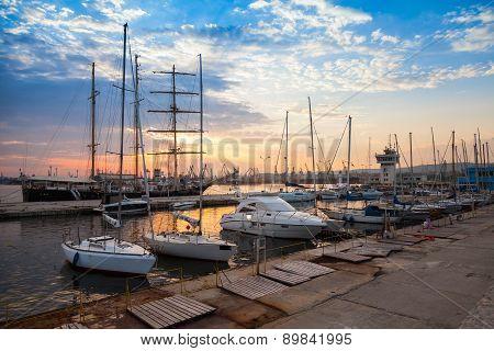 Sailing Ships And Yachts Stand Moored In Varna