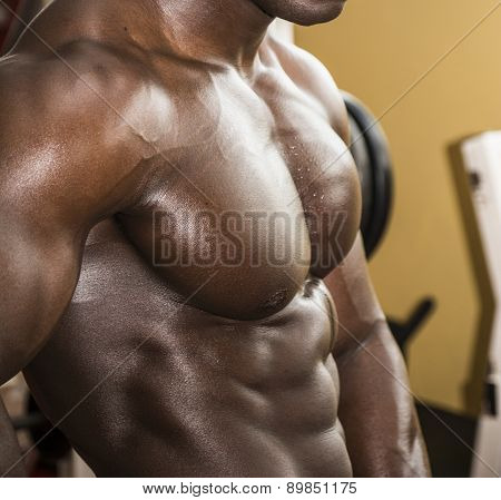 Attractive hunky black male bodybuilder doing bodybuilding pose in gym poster