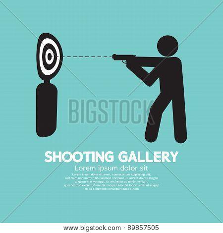 Gun Athlete At Shooting Gallery Symbol.