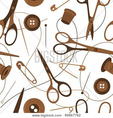 Seamless background pattern of sewing accessories in shades of brown scattered on a white background with scissors, thread, button, safety pin and thimble, vector illustration poster