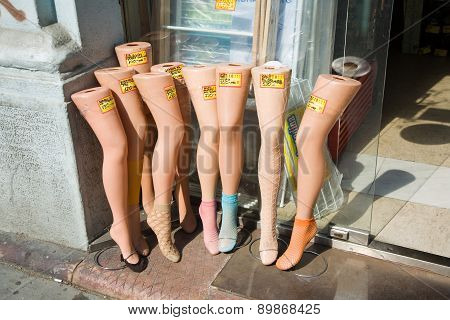 Pantihose On Puppets Legs In A Shop