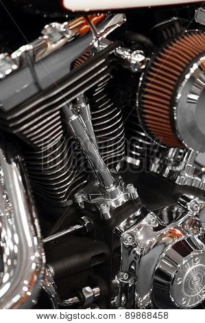 Color detail of the engine of a motorcycle. poster