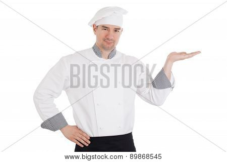 Young Chef Holding Something On Hand