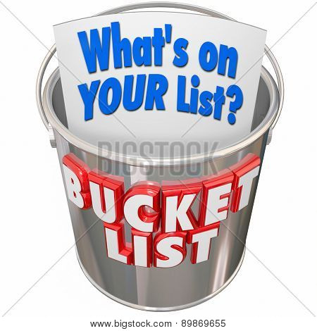 What's On Your Bucket List words on a metal pail to illustrate things you want to do before you die