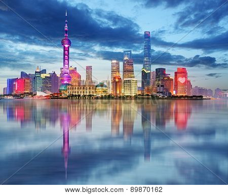 Shanghai Skyline At Night, China.