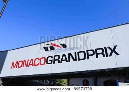 Monaco Grand Prix Logo On A Pedestrian Bridge