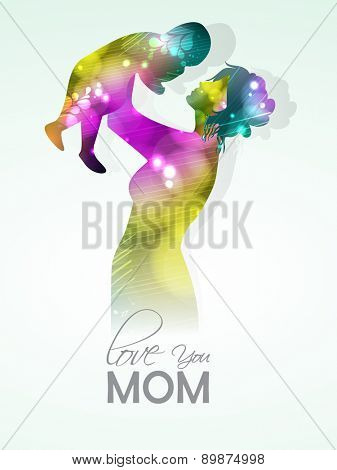 Colorful shiny illustration of a mother playing with her child for Happy Mother's Day celebration.