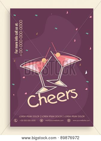 Stylish Party template, banner or flyer design in purple color.