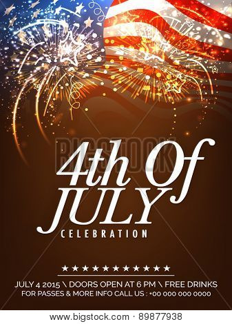 Beautiful invitation card decorated with fireworks on waving national flag background for 4th Of July, American Independence Day celebration.