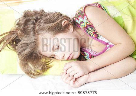 Beautiful Girl Sleeps On  Linen
