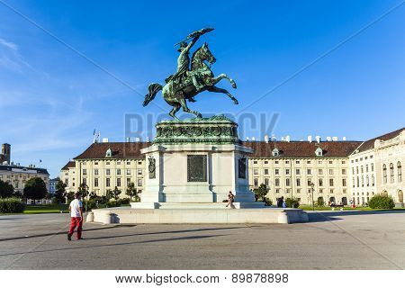 Horse And Rider Statue Of Archduke Karl In Vienna At The Heldenplatz