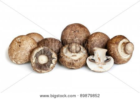 Swiss brown mushrooms isolated on white background.  Whole and cut.