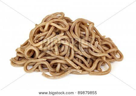 Soba noodles isolated on white background.