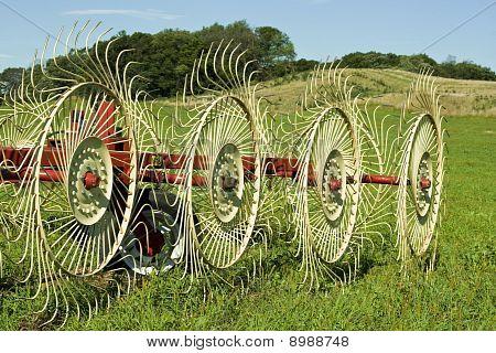 Hay Rake In Farmers Field