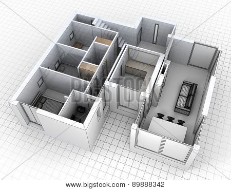 3D rendering of an apartment, aerial view