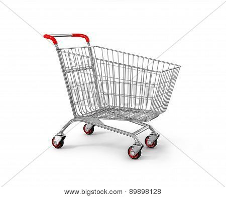 Original Empty Shopping Cart, Side View, Isolated On White Background.