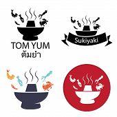 Tom Yum, Sukiyaki ,Spicy Hot pot with fish crab squid shrimp chili, Thai restaurant or Japan restaurant, vector icon and logo poster