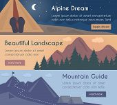 Vector banners illustration set - mountain hiking in the beautiful landscape with mountain guide. poster