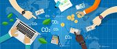 carbon emission co2 trading business bargain green economy poster