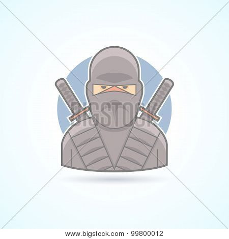 Ninja, shadow warrior, swordsman icon. Avatar and person illustration. Flat colored outlined style.