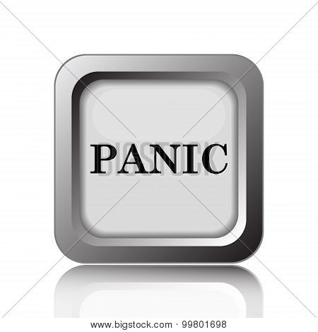 Panic icon. Internet button on white background. poster