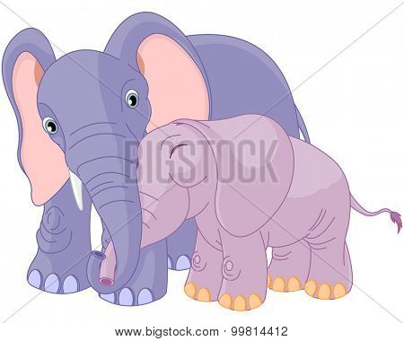 Illustration of mother elephant hugging her baby