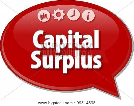 Speech bubble dialog illustration of business term saying Capital Surplus