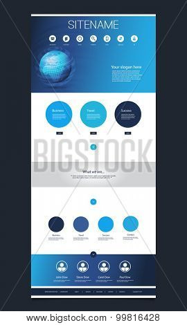 One Page Website Template with Earth Globe on the Header Design