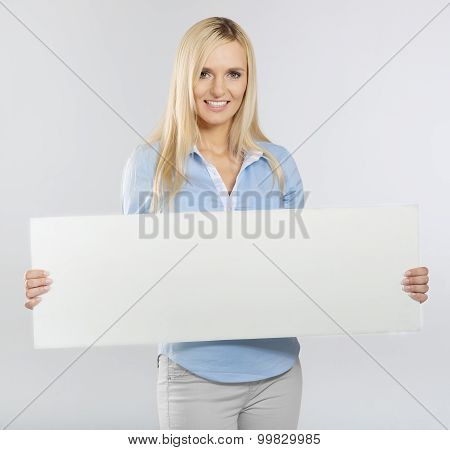 woman portrait with blank white board