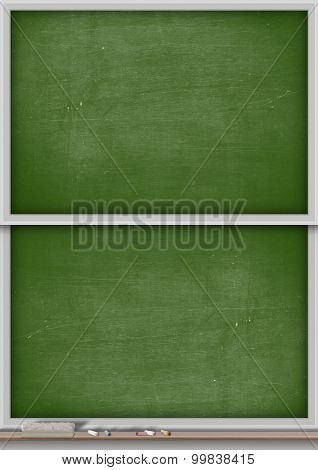 A rectangular green chalkboard with a metal frame split into two sections with a wooden ledge chalk and a duster poster