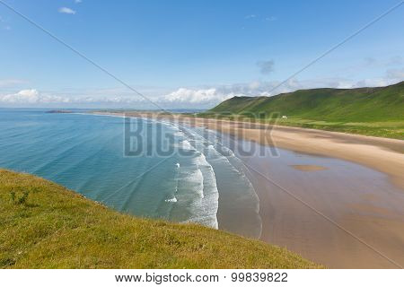 The Gower coast South Wales UK in summer Rhossili beach
