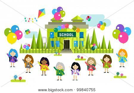 Cute vector cartoon girls from different countries playing near school building. School uniform, university building, education, school kids, teens. Welcome to school. Back to school background