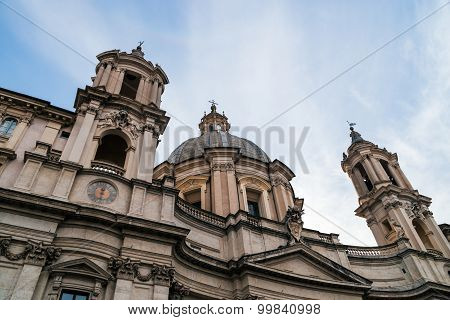 Saint Agnese in Agone in Piazza Navona at cloudy sky