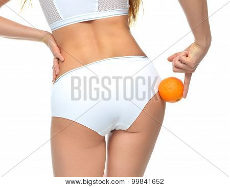 Hips Legs Buttocks And Orange In Hand Cellulite Liposuction Woman Weight Loss Control Concept