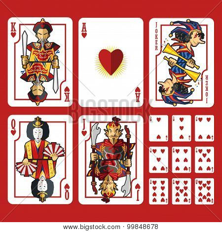 Heart Suit Playing Cards Full Set