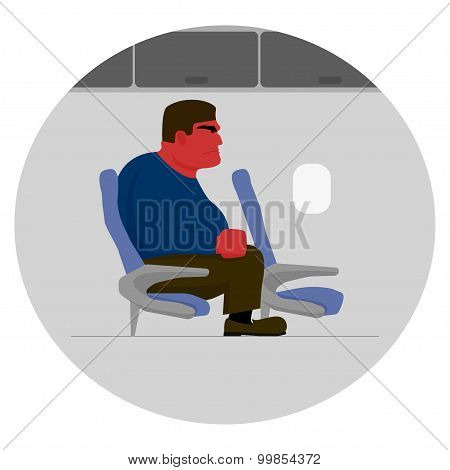 Angry man with red face, too big for seat on plane