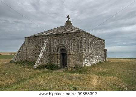 St Aldelm's Chapel at St Aldhelm's Head, South West Coast, England