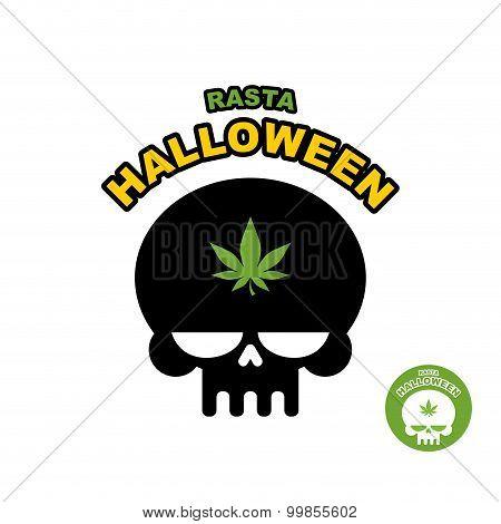Skull With Marijuana, Cannabis. Rasta Halloween. Print Logo For Dreaded Holiday.