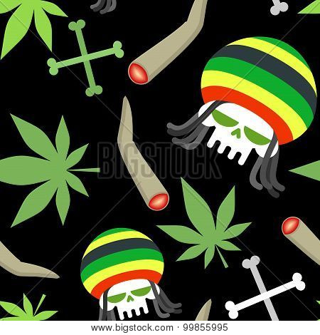 Rasta Pattern. Seamless Background From Marihuanny And Skull. Smoking Dope And Bones Of Skeleton. Ve