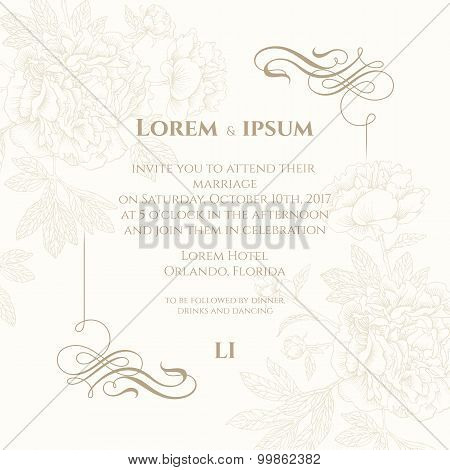 Template Card With Calligraphic Elements.