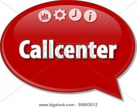 Speech bubble dialog illustration of business term saying Callcenter