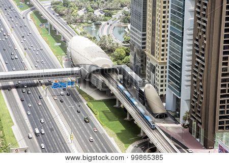 Aerial view of The Dubai Metro, Dubai, UAE