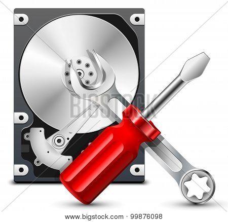 Hdd Repair Icon, Vector
