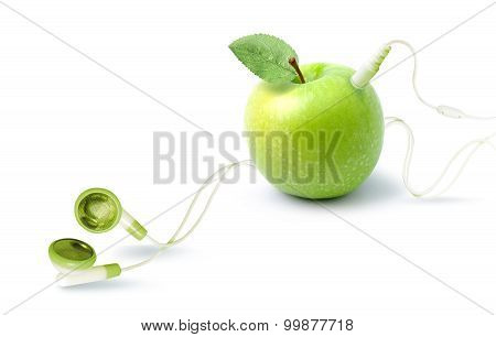 The music player in the shape of an apple with headphones.