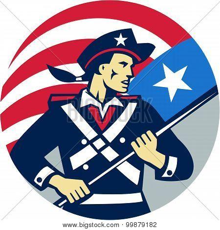 American Patriot Holding Brandish Usa Flag Circle Retro
