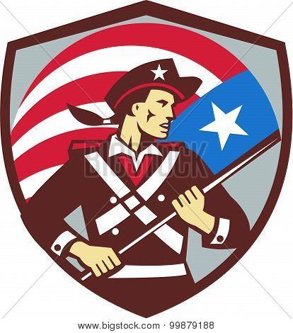 American Patriot Holding Brandish Usa Flag Crest Retro
